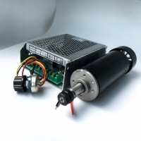 0.5kw Air cooled spindle motor ER11 chuck 500W Spindle dc Motor & 52mm clamps , Power Supply speed governor For CNC