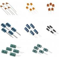 40 pcs capacitors 5 pcs each of -1 nf(102) 10 nf(103) 100 nf(104) 1 µf 10 µf 47 µf 100 µf 220 µf