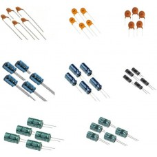 40 pcs capacitors 5 pcs each of -1 nf(102) 10 nf(103) 100 nf(104) 1 µf 10 µf 47 µf 100 µf 220 µf