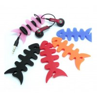 1 Pcs, headphone lead winder, fish skeleton silicone rubber, earphone winder- Multi colors