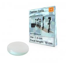 1 Glass  Convex lens, Focus 10cm, Dia 7.5cm