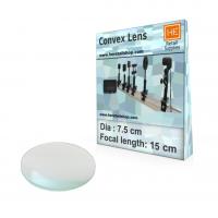 1 Glass  Convex lens, Focus 15cm, Dia 7.5cm