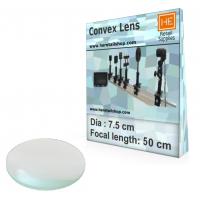1 Glass  Convex lens, Focus 50cm, Dia 7.5cm