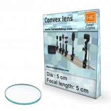 1 Glass  Convex lens, Focus 5cm, Dia 5cm
