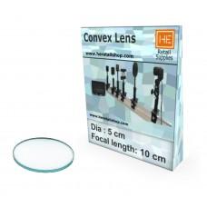 1 Glass  Convex lens,Focus 10cm, Dia 5cm