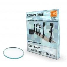 1 Glass  Convex lens,Focus 15cm, Dia 5cm