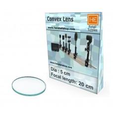 1 Glass  Convex lens, Focus 20cm, Dia 5cm