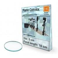 1 Glass  Plano convex lens, Focus 10cm, Dia 5cm