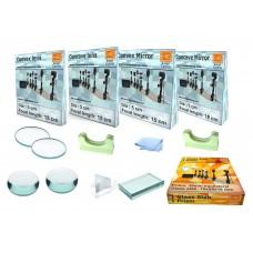1 each Convex, Concave lens & Convex, Concave Mirror focus 15 cm, dia 5 cm, glass slab, prism with 2 lens holders (Total - 8 pcs set)