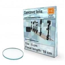 1 Glass  Concave lens, Focus 10cm, Dia 5cm