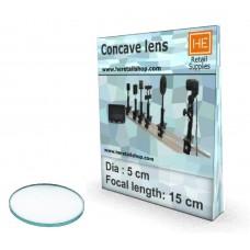 1 Glass  Concave lens, Focus 15cm, Dia 5cm