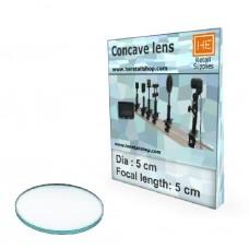 1 Glass  Concave lens, Focus 5cm, Dia 5cm