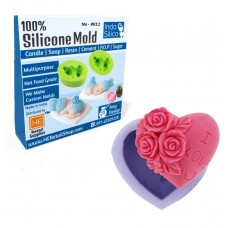 IndoSilico Heart Shaped soap Mold, Silicone DIY Art Mould Multipurpose Clay, Resin, Sugar, Cement Craft Project