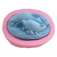 IndoSilico dolphins play in the water Craft Mold, Silicone DIY Art Mould Multipurpose Clay, Resin, Sugar, Cement Craft Project