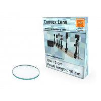 1 Convex Lens, Focus 10cm, Dia 5cm, Glass Optics Lenses