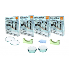 1 Convex Lens with 1 Concave Lens, 1 Convex Mirror, 1 Concave Mirror, Lens Holder and Cleaning Cloth -Set of 6