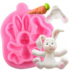 craftial curve_CC56_3D Rabbit Easter Bunny Silicone Mold , Silicone DIY Art Mould